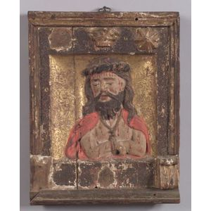 Continental Carved Wood Gesso, Polychrome, and Parcel Gilt Panel Depicting Christ