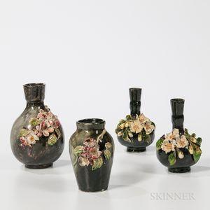 Four T.J. Wheatley Floral Vases