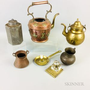 Seven Metal Tableware Items