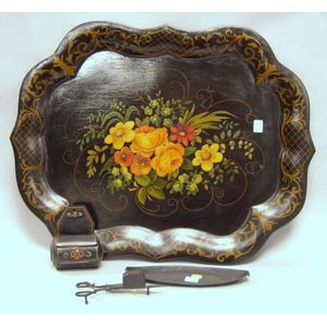 Tole Tray, Match Box, and a Pair of Wick Scissors with Tray.