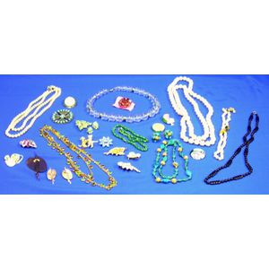Group of Costume Jewelry Necklaces and Brooches