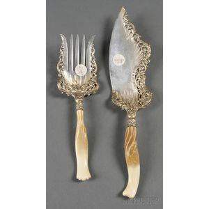 """Whiting Sterling and Parcel-gilt """"Ivory"""" Pattern Two-piece Fish Set"""