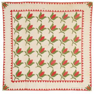 Pieced and Appliqued Cotton Tulip-pattern Quilt