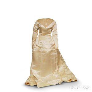 Silk Wedding Dress and Lace Veil