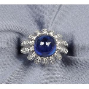 Platinum, Sapphire, and Diamond Ring