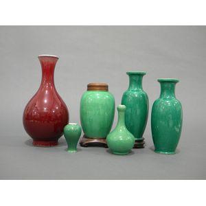 Six Monochrome Porcelain Vases