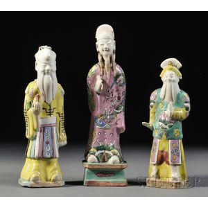 Three Famille Rose Figurines