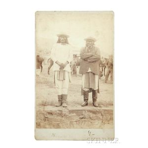 """Framed Oversize Cabinet Card Photograph of Chiefs """"Geronimo"""" and """"Natches"""" at Their Surrender"""