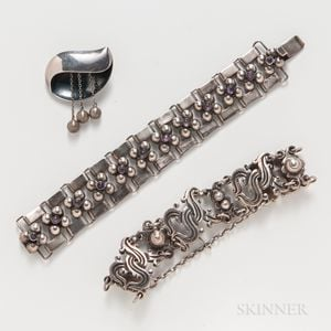 Three Pieces of Mexican Silver Jewelry by Fred Davis, Sigi, and William Spratling