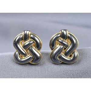 18kt Gold and Hematite Cuff Links, Angela Cummings