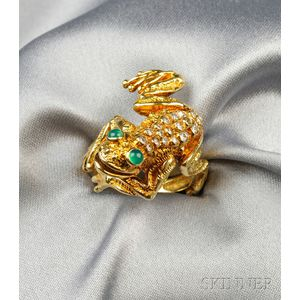 18kt Gold, Diamond, and Green Chalcedony Frog Ring, Kurt Wayne
