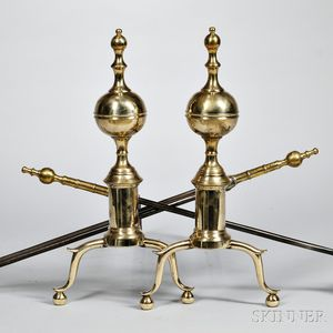 Pair of Brass and Iron Ball-top Andirons and Matching Tools