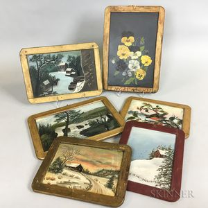Six Paint-decorated Slate Boards