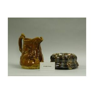 Bennington and Rockingham Glazed Pottery Spittoon, Mold and Jug