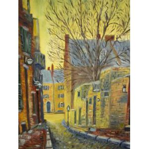Three Framed Paintings of Boston Scenes, Chestnut and Acorn Streets