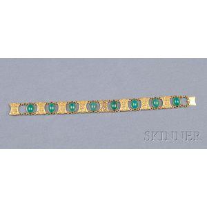 Art Nouveau 14kt Gold and Green Chalcedony Bracelet