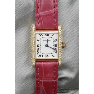 "18kt Gold and Diamond ""Tank"" Wristwatch, Cartier"