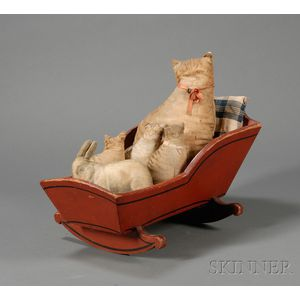 Red-painted Doll Cradle with Four Lithographed Cloth Cats and a Rabbit