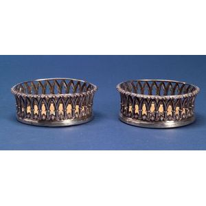 Pair of William IV Gothic Revival Silver Wine Coasters