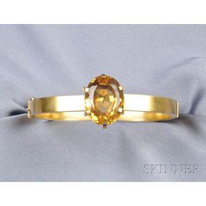 Antique 14kt Gold and Citrine Bangle Bracelet
