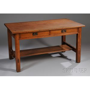 L. & J.G. Stickley Arts & Crafts Oak Two-drawer Library Table