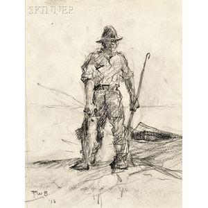 Frank Weston Benson (American, 1862-1951)    Fisherman Returning with His Catch