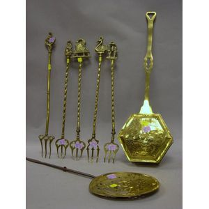 Two Brass Roasting Pans and Five Old Brass Toasting Forks.