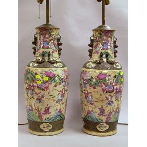 Pair of Chinese Export Porcelain Vase Table Lamps