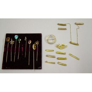 Eleven Victorian Small Pins and Eight Gold Gem-set Stickpins.