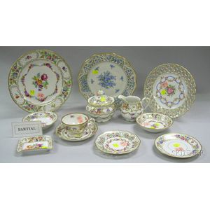 Eighty-three Piece Assembled Schumann Porcelain Partial Dinner Service, a Set of Six German Reticulated Floral ...