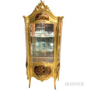 Louis XV-style Vernis Martin Polychrome Painted and Gilt Floor Vitrine