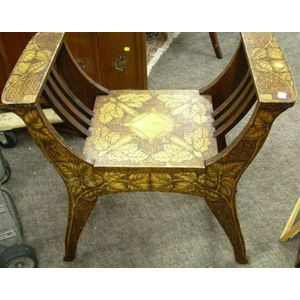 Art Nouveau Pyrography Foliate Decorated Wooden Bench.