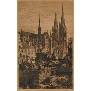 Axel Herman Haig (Swedish, 1835-1921)      Lot of Two Etchings: En Framtidsbild/Motiv Fran Upsala