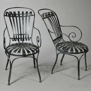 Pair of Iron and Steel Chairs