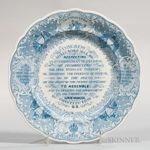 Transfer-decorated Historical Blue Staffordshire Anti-Slavery/Constitution Plate
