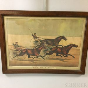 Framed Currier & Ives Lithograph Won By A Neck