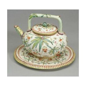 Wedgwood Queen's Ware Tea Kettle, Cover, and Stand