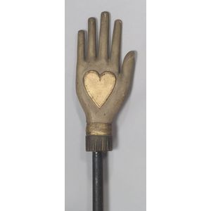 Odd Fellows Carved and Painted Wooden Heart and Hand Staff