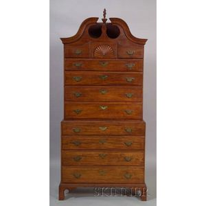 Chippendale Cherry Carved Scroll-top Chest-on-chest