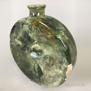 Glassed Ceramic Portrait Vase of a Veiled Woman