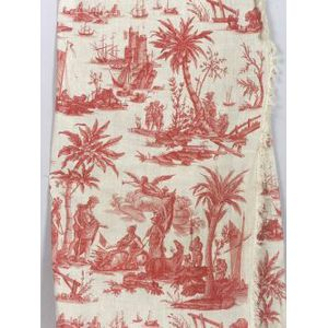 Two 18th Century French Toile de Jouy Red and White Printed Linen Panels,   America Rendering Homage to France