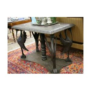 Late Victorian Dark Stained Carved Wood Ibis Center Table.