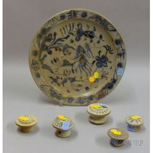 Blue and White Asian Plate and Five Bread Stamps