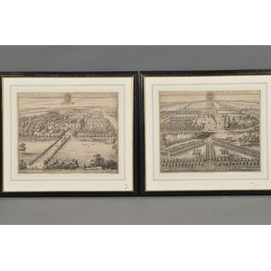 Johannes Kip (Dutch, c. 1653-1722)      Lot of Two Etchings of English Country Seats: Cleeve Hill