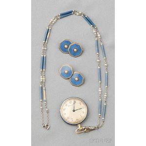Edwardian 18kt Gold, Platinum, and Enamel Pendant Watch, Dreicer & Co.