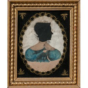 Hollow-cut and Watercolor Silhouette of a Woman in a Blue Dress