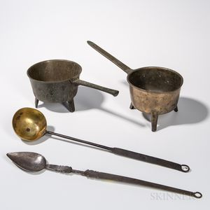 Two Bronze Skillets and a Hearth Spoon and Ladle