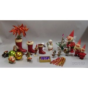 Collection of Mostly German and Vintage Christmas and Holiday Decorations