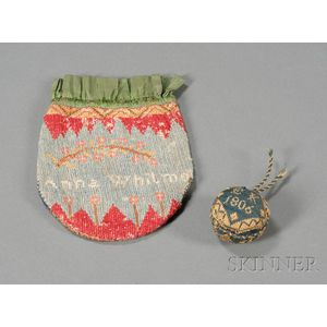 Wool Needlework Reticule and Pincushion