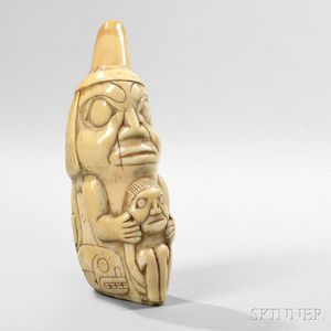 Northwest Coast Carved Whale Tooth Amulet